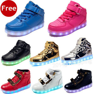 Details About Kids High Tops Boys Girls Led Light Up Sneaker Luminous Trainers Sportwear Shoes