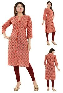 Women-Indian-Floral-Top-Kurti-Tunic-Cotton-Printed-Kurta-Shirt-Dress-NK40
