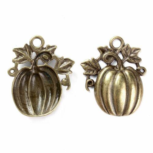 Autumn Pumpkin 61mm Antiqued Bronze Halloween Pendant C5069-1 2 Or 5PCs