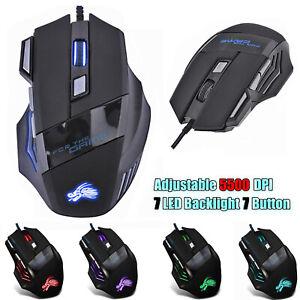 Raton-7-Botones-Juego-LED-optico-Laser-USB-Wired-Para-PC-Gaming-5500DPI-Mouse