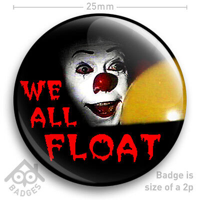 "25mm 1/"" Pennywise Killer Clown Stephen King IT Button Badge Pin Custom Badge"