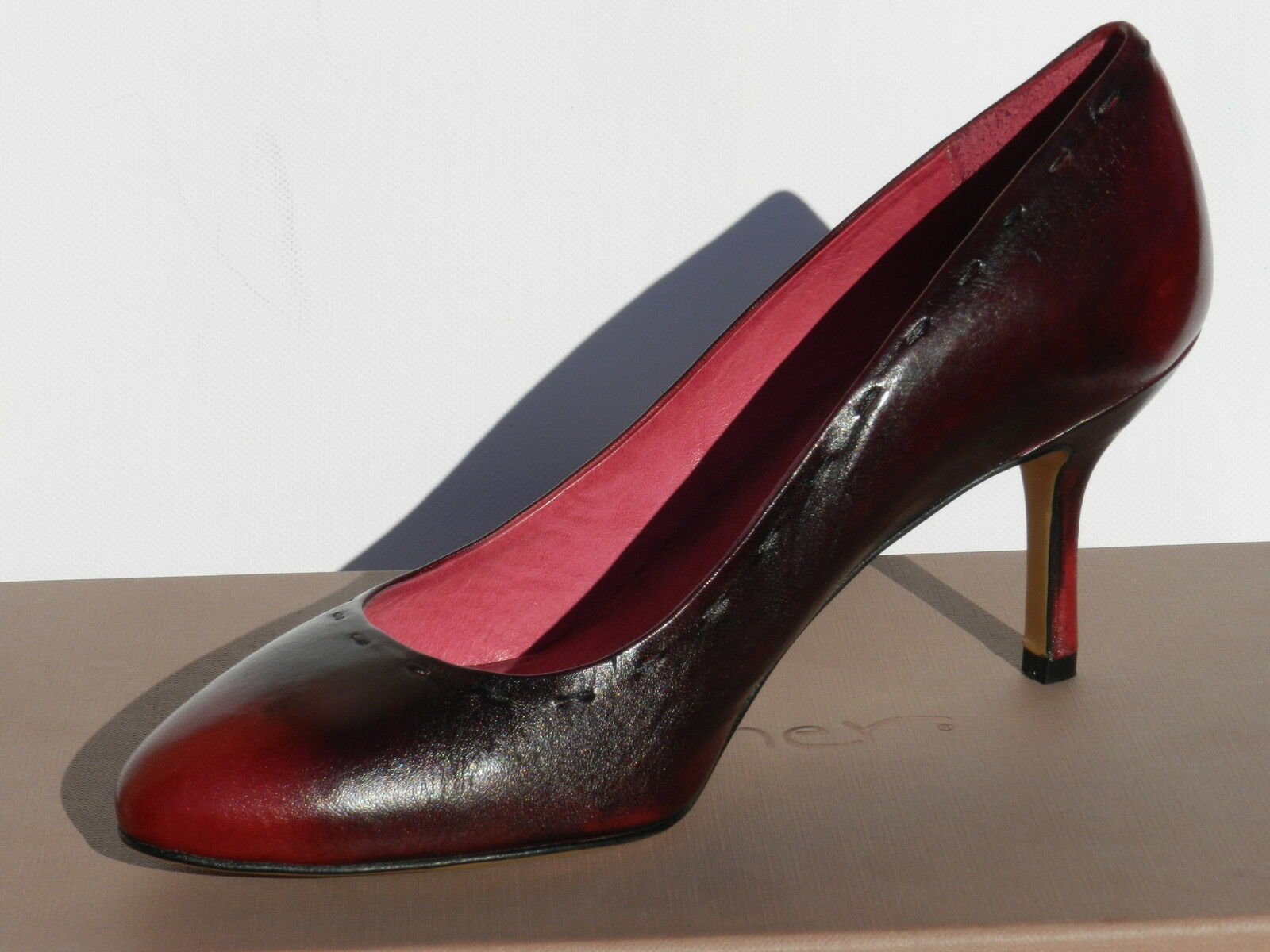 Eva Turner EE068 Chaussures Femme 37 Escarpins Luxe Rouge Court chaussures UK4 Neuf