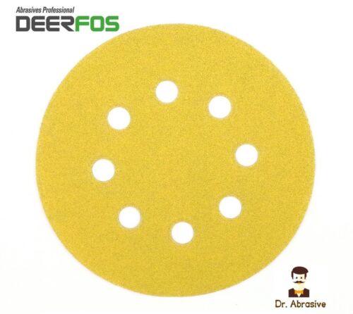 """125 mm ponçage disque 5/"""" ORBITAL papier de verre Pads deerfos Vecro 8 Trous Grain 40-240"""