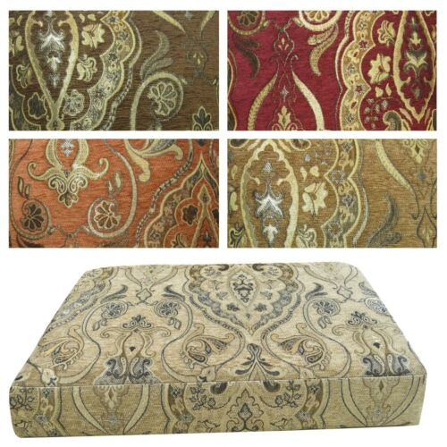 Box Shape Seat//Back Cover*Damask Chenille Chair 3D Cushion Case*Custom Size*Wk5