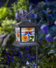 Hanging Stained Glass Lamp LED Light Solar Powered Outdoor Garden Decor  Patio