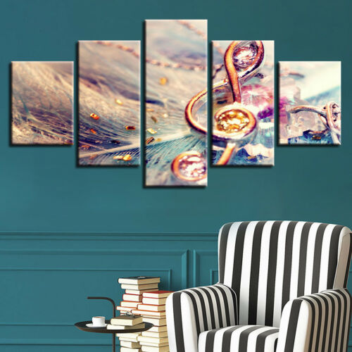 Music Symbol Picture 5 Panel Canvas Print Wall Art Poster