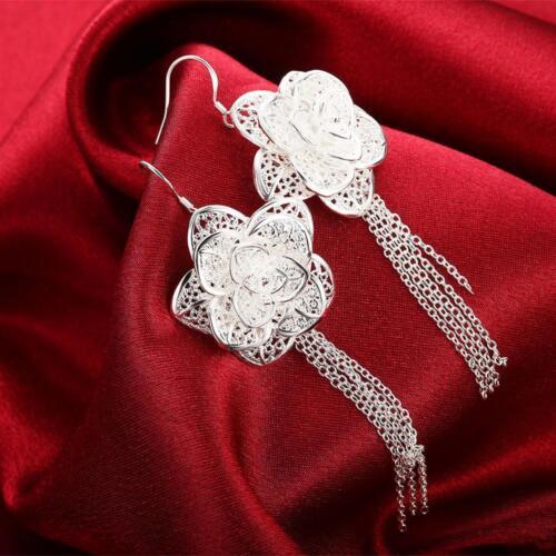 Belle Rose Fashion Argent Mariage Femmes Pretty Charme Fleur Boucle D/'oreille Bijoux