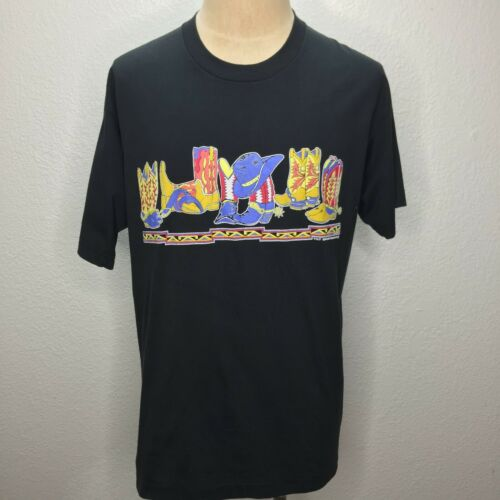 Western Cowboy Boots T Shirt Black With Colorful G