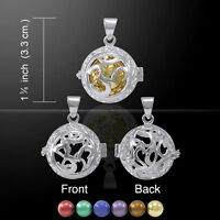 Om Bola Ball Harmony Globe .925 Sterling Silver Pendant By Peter Stone