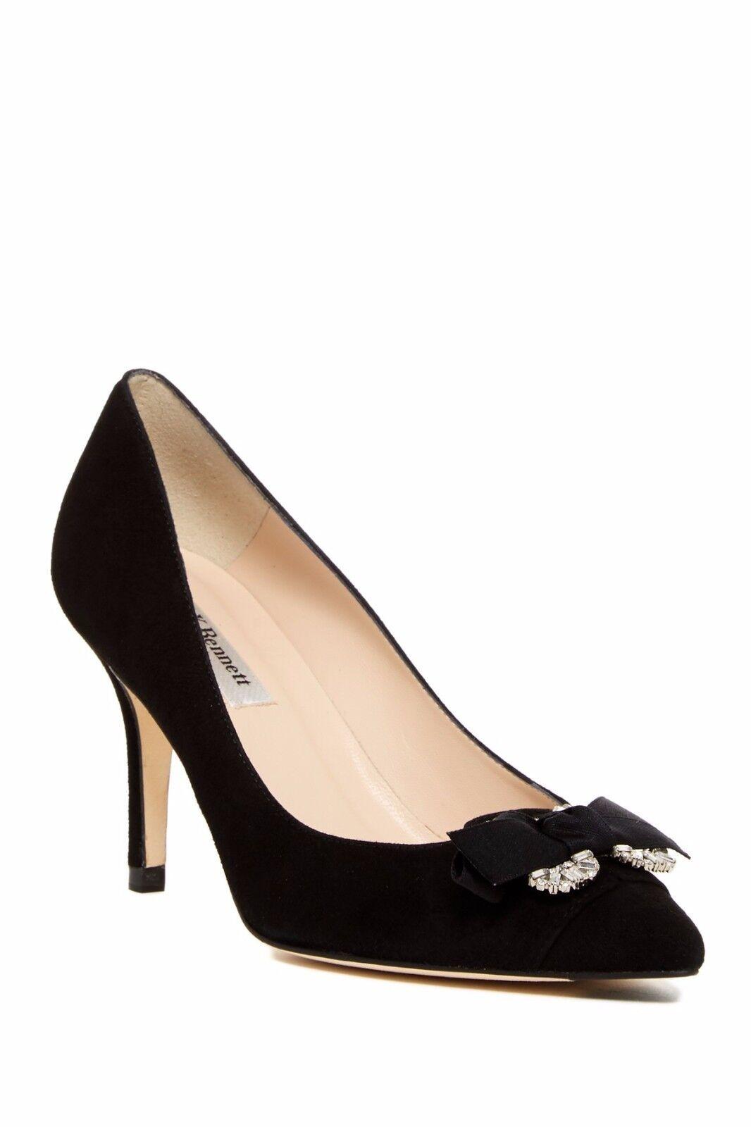 Nuevo Nuevo Nuevo  425 L. K. Bennett Primrosadododo Bomba De Gamuza Negra Zapato Tacón 38.5 Puntera Puntiaguda Arco  auténtico