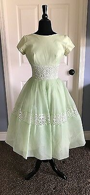 Vintage 1950's PARTY DRESS Chiffon & Lace Full Skirt Sz 11 EXCELLENT CONDITION!