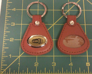 New-Brown-Leather-Keychain-Engraved-with-Alaska-and-a-Bear-paw-print