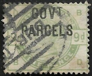 GB1884-QV-SG-O63-9d-Dull-Green-Ovpt-GOVT-PARCELS-Fine-Used-CV-1200