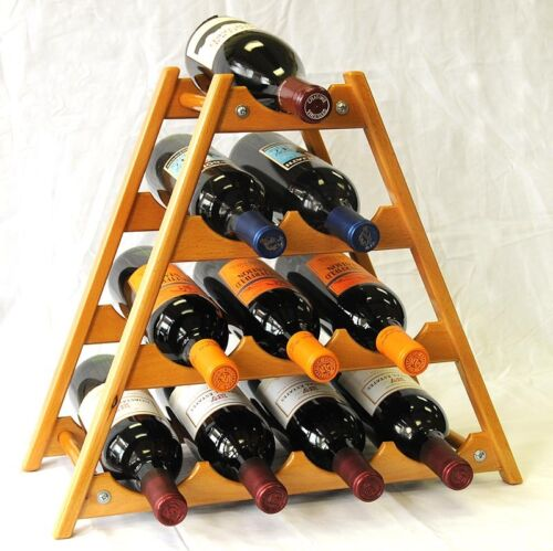 Wine Rack 6 or 10 Bottle Capacity Wine Stand-Table Top Display Holder Solid Wood