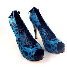 Iron Fist Heels Size 8 Blue Black Leopard Print Open Toe Black Bow Pin Up Punk