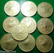 10 COINS LOT LOTUS 20 PAISE or PAISA FINE brass commemorative coin