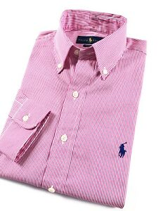 Ralph-Lauren-Shirt-Men-s-Red-Stripe-Crisp-Poplin-Long-Sleeve-Classic-Fit