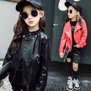 dfb70f8678ad Image is loading Spring-Autumn-Baby-Kids-Girls-Leather-Jackets-Children-