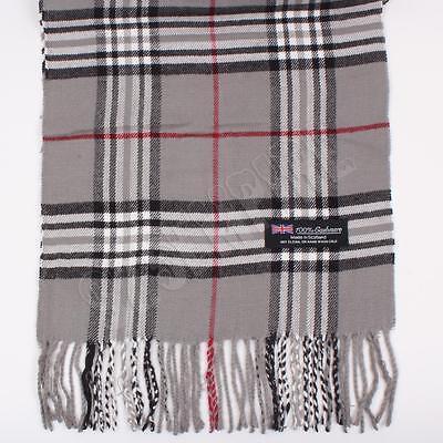 Men's 100% CASHMERE Scarf Gray tartan Plaid Stripe Design Soft | eBay