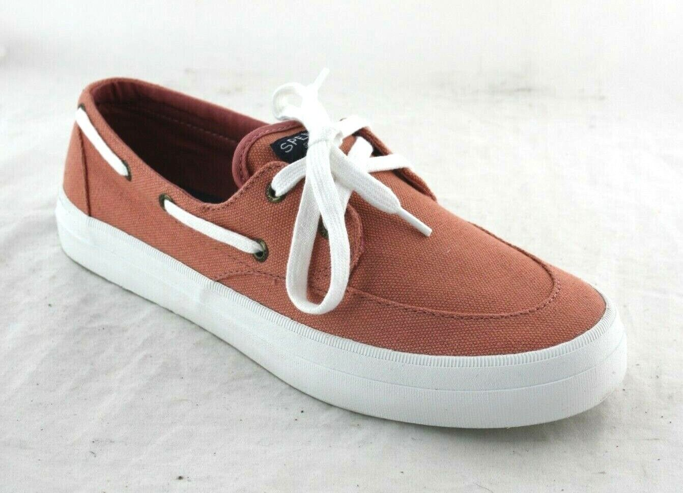 SPERRY Crest Boat Sneaker In Washed Red Fabric STS83200 WOMEN'S CASUAL SHOE SZ9H