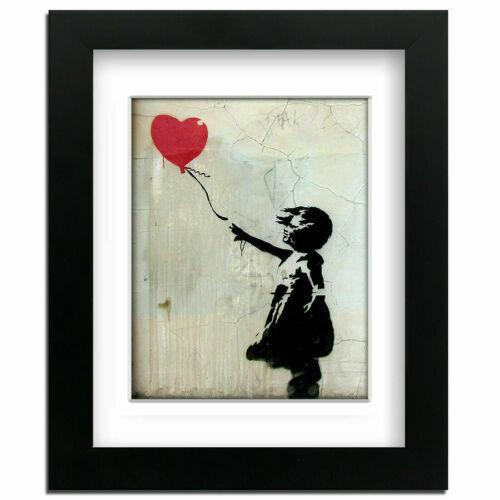 Banksy Rot Ballon Mädchen Professionell Gerahmt Aufdruck mit M Strasse Kunst