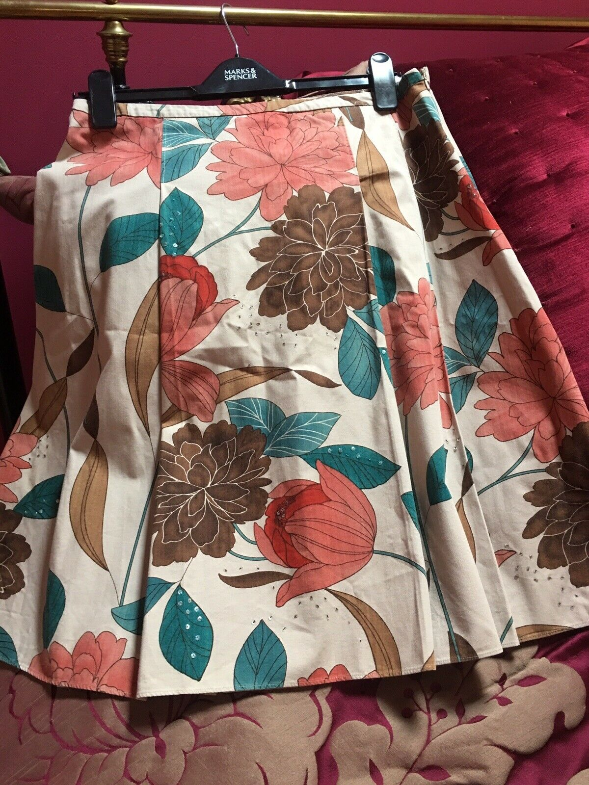 Phase eight Floral Print Pleated Skirt Size 12 Immaculate