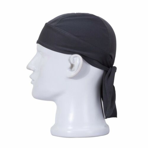 Black Fitted Biker Bandanna Head Wrap Tie Down Scarf Pirate Du Rag Doo Skull Cap