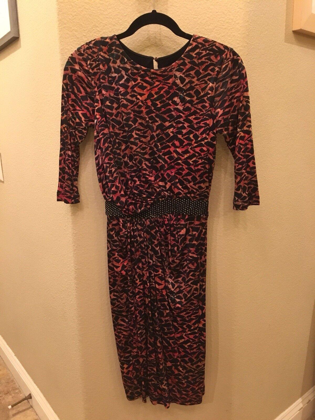 NWT SALONI Dress Size 2 Karla Dress Salmon Leopard Print 100% Silk