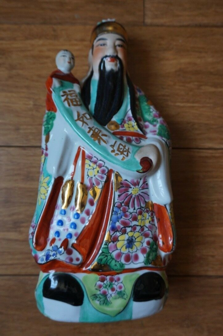 Hand Made Hand Painted 12  Ceramic Luk Fuk and and and Sao Feng shui idols 8d07df