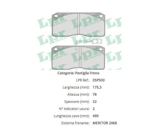 posteriori Iveco con rilevatore di usura 4pz 05P500 Pasticche freno anteriori