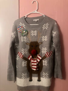 Ugly-Christmas-Sweater-Grey-Reindeer-W-Red-White-Scarf-Fluff-Womens-Size-Small