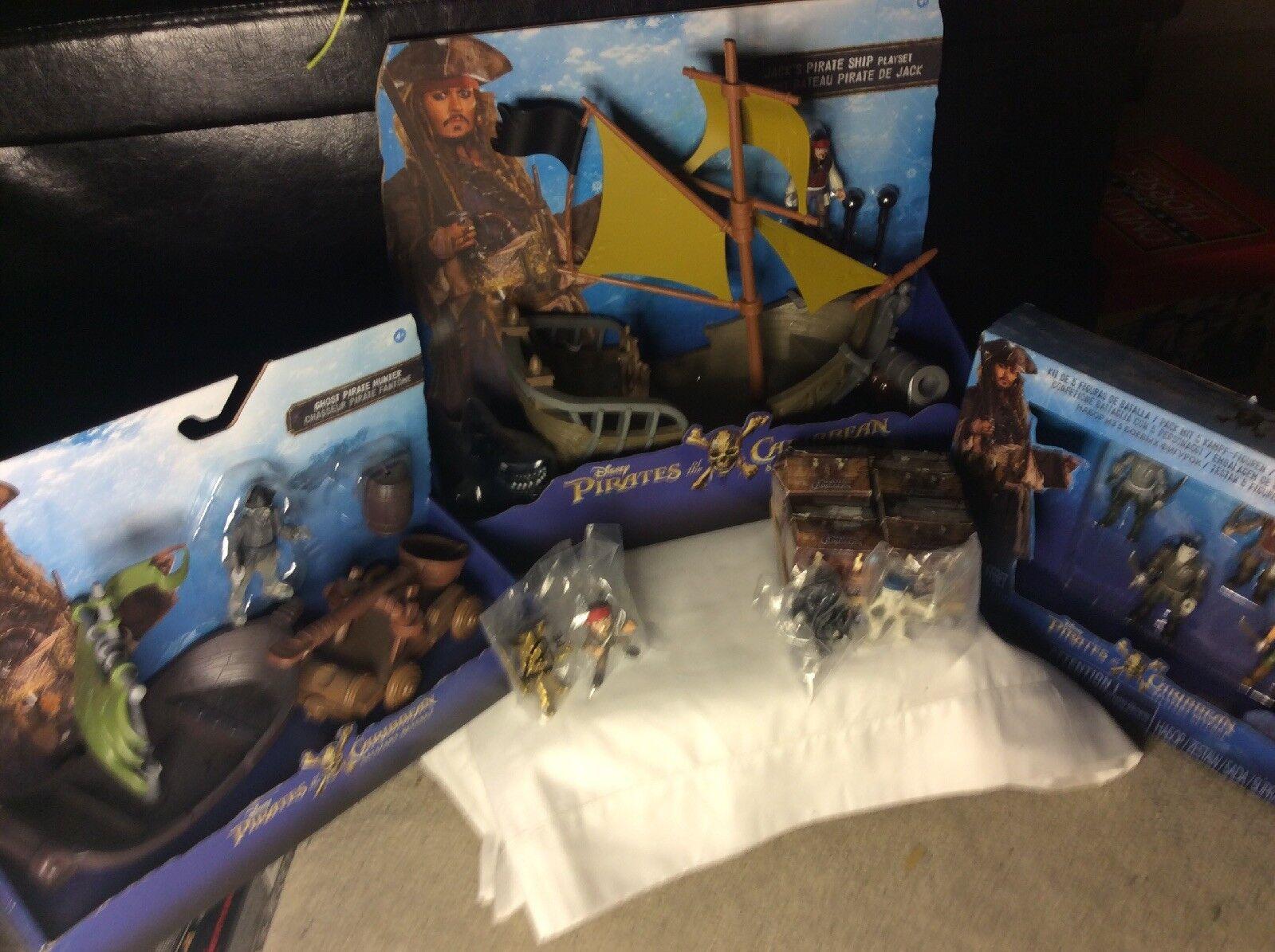Rare Pirates Of The Caribbean Toy Bundle Jacks Ship figures Plus Rare Gold Jack