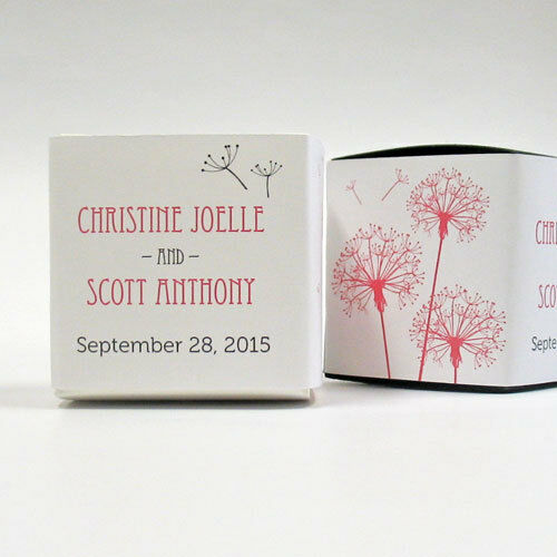 100 Dandelion Wishes Printed Wrap Boxes Wedding Favors
