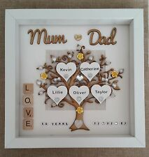 Personalised Handmade Golden 50th Wedding Anniversary Gift Box Frame Mum And Dad