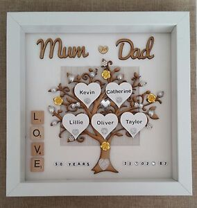Personalised Handmade Golden 50th Wedding Anniversary Gift Box Frame