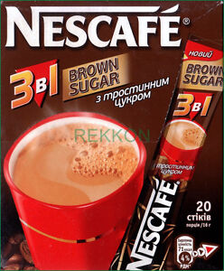 Nescafe Nestle Brown Sugar 3 In 1 Instant Coffee Mix Box