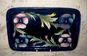 Moorcroft-Pottery-Pansy-Pattern-Dresser-Tray-1920-039-s-Classic-Design-10-6-034-x-6-7-034