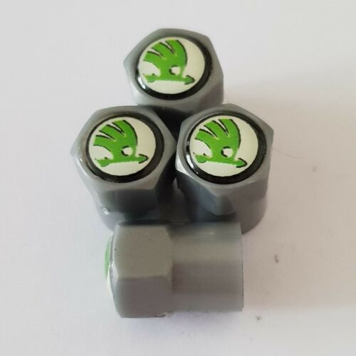 SKODA GREY Plastic Wheel Valve Dust caps all models 7 colour SUPERB RAPID CITIGO