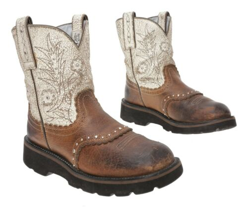 ARIAT FATBABY Cowboy Boots 7.5 B Womens White Leat