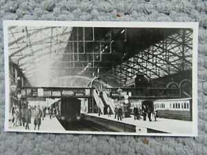 Vintage c1930s? Birmingham New Street Station People Trains Real Photo Postcard
