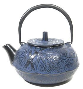Teavana cast iron teapot blue bamboo ebay - Elephant cast iron teapot ...