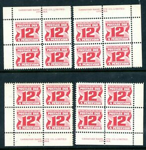 Weeda Canada J36 VF MNH M/S of PBs, 12c 1969 Postage Due on DF CV $24