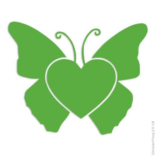 Butterfly Heart Decal Sticker Choose Color Size #138
