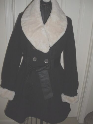 Wool 10 Flare Black Coat Trimmed Fur Cashmere Double And Breasted Laundry RtvB7qAgp