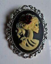 Day of The Dead Lady Skull & Red Roses Cameo Brooch Gothic Steampunk Halloween