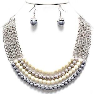 874de5c24 Chunky Cream Gray Taupe Multi Layered Pearl Silver Chain Earrings ...