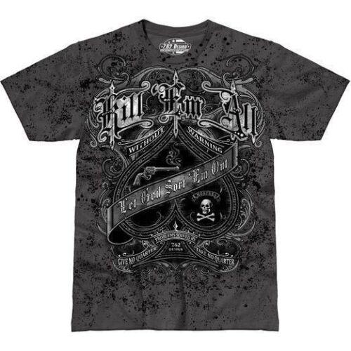 Kill /'Em All T-Shirt 7.62 Design Grey Graphic Military Tee Shirt