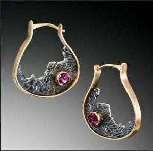 925-Silver-Ruby-Amber-Sapphire-Earrings-Moonstone-Turquoise-Ear-Hook-Drop-Dangle