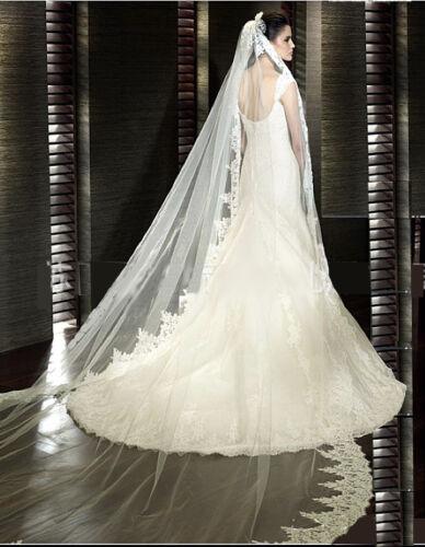 Voile de mariée dentelle haut de gamme blanc V15-3m Neuf 3M Exceptionnel