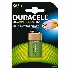 1 x NEW Duracell NiMH Rechargeable Battery 9V PP3 6LR61 MN1604 Capacity 170mAh